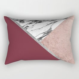 Marble Rose Gold Red Wine Triangle Geometric Rectangular Pillow