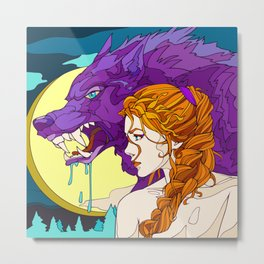 Only A Redhead Can Tame A Wolf Metal Print