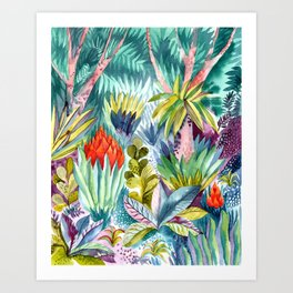 Jungle with pink trees Art Print