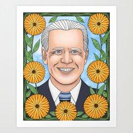 Joe Biden portrait with calendula Art Print