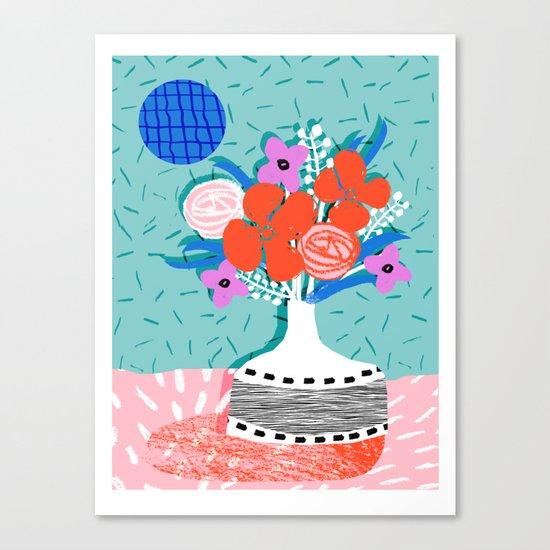 Oh Ay - memphis throwback still life retro florals modern minimal collage patterns Canvas Print