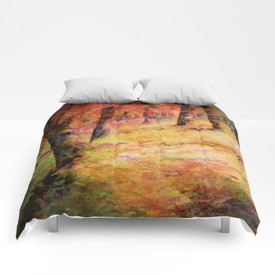 Painterly Vintage Woodland Dreams Comforters
