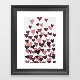 Valentine's Day Watercolor Hearts - dark pink Framed Art Print