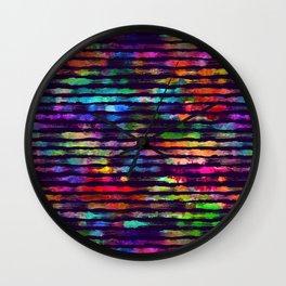 Rainbow watercolor brush stripes Wall Clock