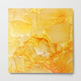 Yellow onyx marble Metal Print