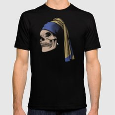 The Skull with a Pearl Earring Black Mens Fitted Tee MEDIUM
