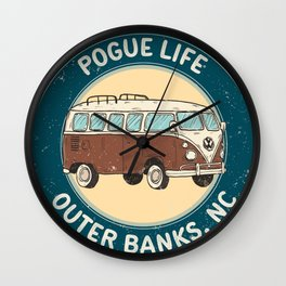 outerbanks nc - pogue life Wall Clock