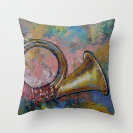 Hunting Horn Throw Pillow