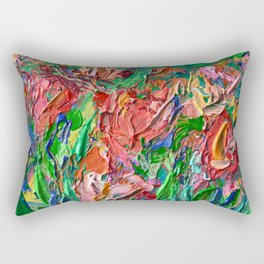 Tulips - palette knife abstract nature flower painting by Adriana Dziuba Rectangular Pillow