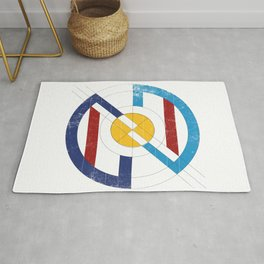 Geometric superheroe logo Rug