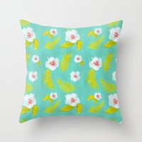 hibiscus Throw Pillows featuring Hibiscus by Maya Bee Illustrations