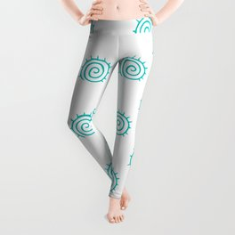 Aqua Spiral Abstract Pattern Leggings