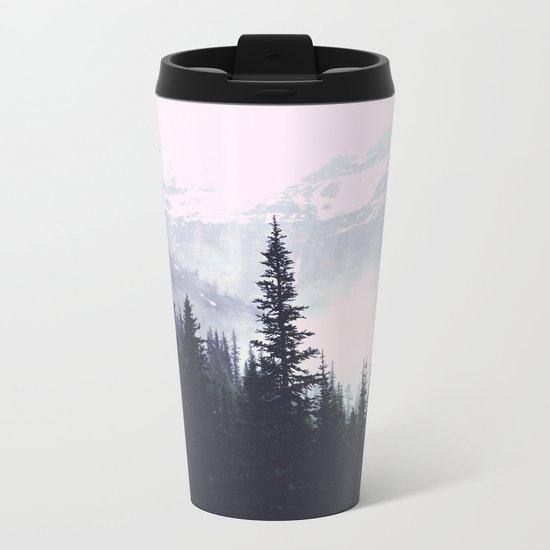 Evergreens in the fog edit Metal Travel Mug