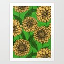 Dahlias in yellow and green by katerinamitkova