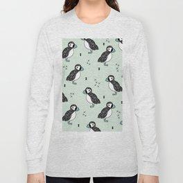 Cute Icelandic Puffin birds mint pattern Long Sleeve T-shirt