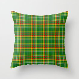 Green Red Yellow and White Plaid Throw Pillow