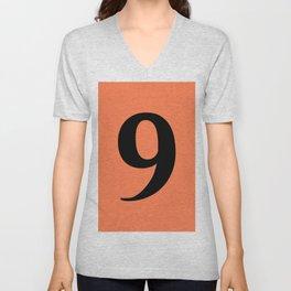 9 (BLACK & CORAL NUMBERS) Unisex V-Neck