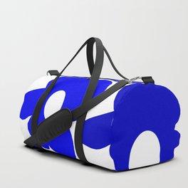 Large Blue Retro Flowers White Background Fresh Blue And White  #decor #society6 #buyart Duffle Bag