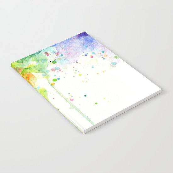 Watercolor Rainbow Splatters Abstract Texture Notebook