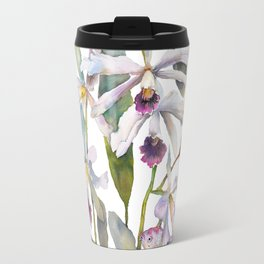 Cattleya Orchid White and Purple with Goldfish Muted Pallet Botanical Design Travel Mug