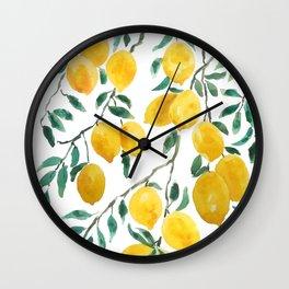 yellow lemon watercolor 2020 Wall Clock