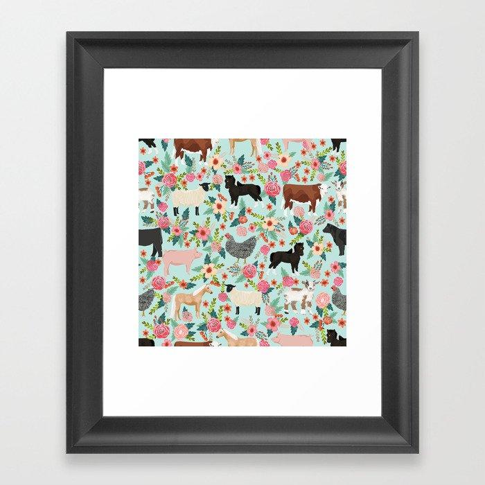 Farm animal sanctuary pig chicken cows horses sheep floral pattern gifts Gerahmter Kunstdruck