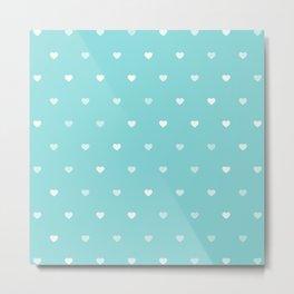 Baby Blue Heart Pattern Metal Print