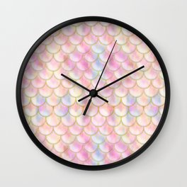 Pastel Iridescent Mermaid Scales Pattern Wall Clock