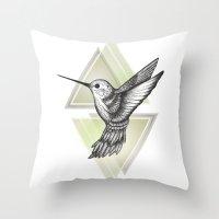 hummingbird Throw Pillows featuring Hummingbird by Barlena