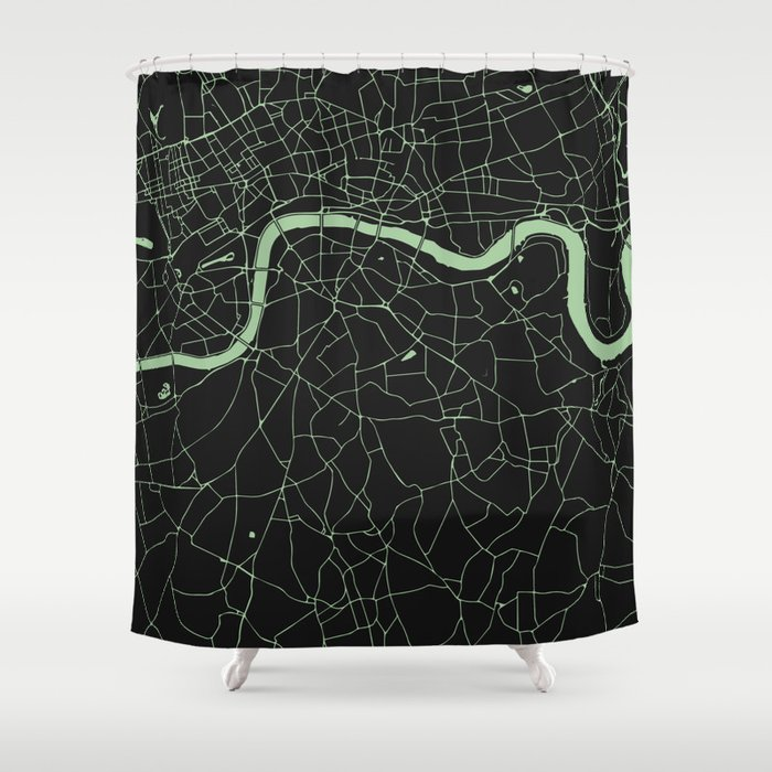 London Black on Green Street Map Shower Curtain