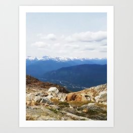 Many layers of a mountain view Art Print