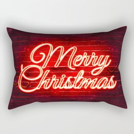 Red neon Merry Christmas 4k red brickwall Happy New Years Concept Red Merry Christmas creative Chris Rectangular Pillow