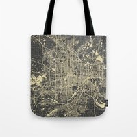 minneapolis Tote Bags featuring Minneapolis Map by Map Map Maps