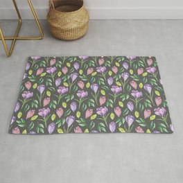 Purple Crocus Spring Floral Pattern Rug