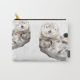 Sea Otters Watercolor Painting Carry-All Pouch