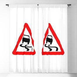 Danger SkiddingTraffic Sign Isolated Blackout Curtain
