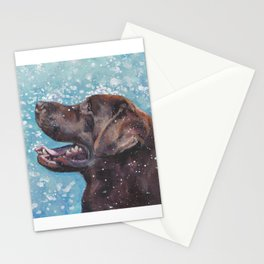 Chocolate lab LABRADOR RETRIEVER dog portrait painting by L.A.Shepard fine art Stationery Cards