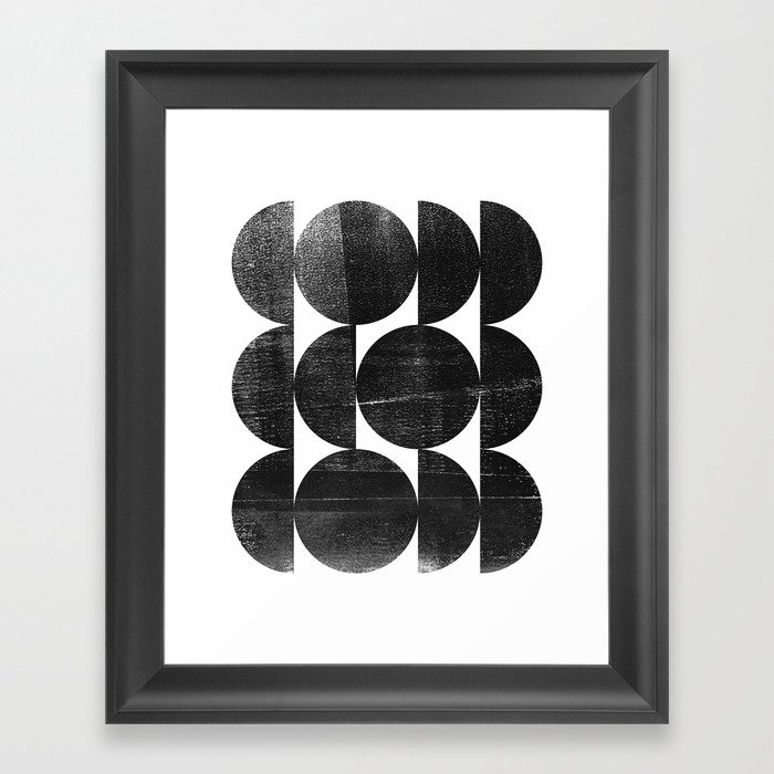 Black and White Mid Century Modern Op Art Framed Art Print