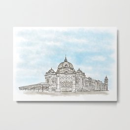 A Sketch of a Famous Australian Landmark Flinders Street Station Metal Print