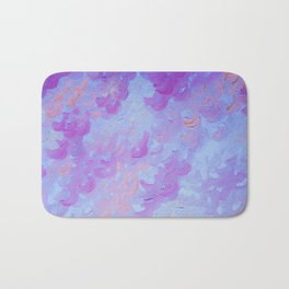 PURPLE PLUMES - Soft Pastel Wispy Lavender Clouds Lilac Plum Periwinkle Abstract Acrylic Painting  Bath Mat