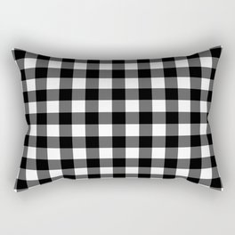 Plaid (Black & White Pattern) Rectangular Pillow