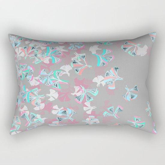 Flight - abstract in pink, grey, white & aqua Rectangular Pillow