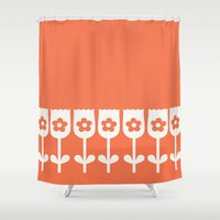 tulip Shower Curtains featuring Tulip by clare nicolson