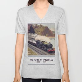 100 Years of Progress, 1835-1935. GWR Vintage Travel Poster Unisex V-Neck