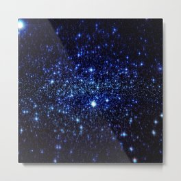 Dark Blue Stars Metal Print