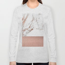 Rose gold marble and foil Long Sleeve T-shirt