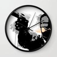 robocop Wall Clocks featuring RoboCop by Molnár Roland