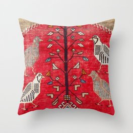 Persian Floral Rug With Several Birds Probably Quail Throw Pillow
