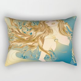 Golden Teal Woman Rectangular Pillow