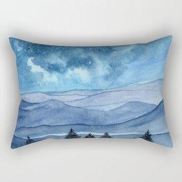 """Blue Hills"" watercolor landscape painting Rectangular Pillow"